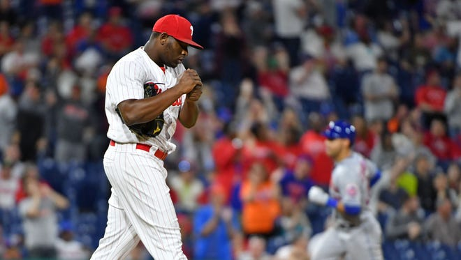 May 11, 2018; Philadelphia, PA, USA; Philadelphia Phillies relief pitcher Hector Neris (50) reacts after allowing two run home run to New York Mets left fielder Michael Conforto (30) during the ninth inning at Citizens Bank Park. Mandatory Credit: Eric Hartline-USA TODAY Sports