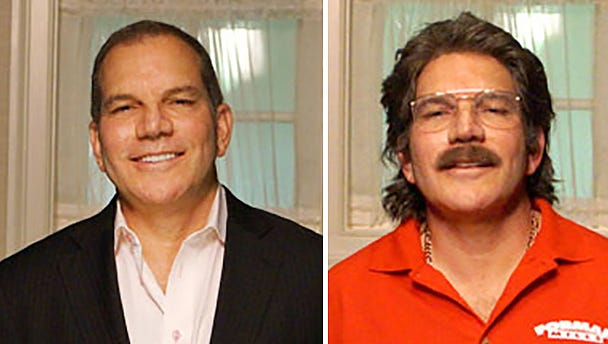 """Rick Forman, the founder and CEO of Forman Mills Inc, a $250 million national discount warehouse clothing and accessories manufacturer with 35 stores in ten states, will appear in disguise while undercover on the CBS show """"Undercover Boss,"""" Sunday, January 25 at 8pm. The photograph shows Forman out of disguise, left, as well as in disguise, right."""