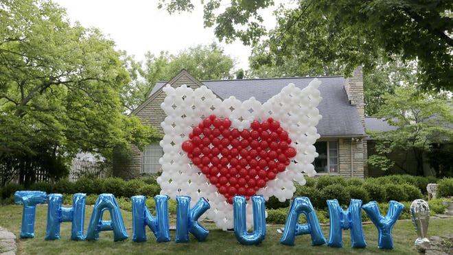 Neighbors sent a supportive message made out of balloons to Dr. Amy Acton's Bexley home on Thursday, June 18, 2020.
