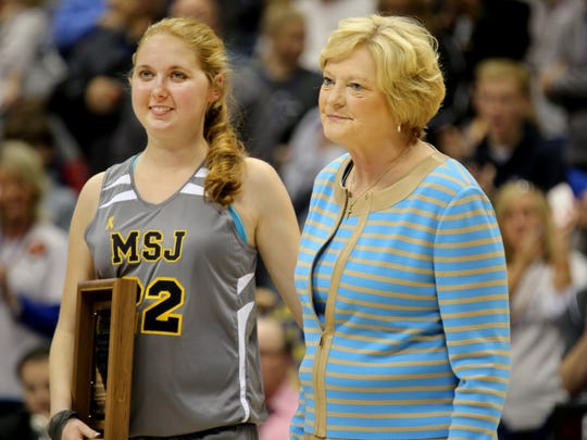 Summitt presented Lauren Hill, a freshman at Mount St. Joseph University who is battling an inoperable rare form of brain cancer, the Pat Summitt Most Courageous award on Nov. 2, 2014, at a special game prior to Hill's passing.