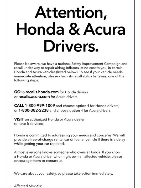 Honda Ads Urge Owners To Get Air Bags Replaced