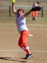 Aztec's CheyAnne Simkins pitches against Kirtland Central