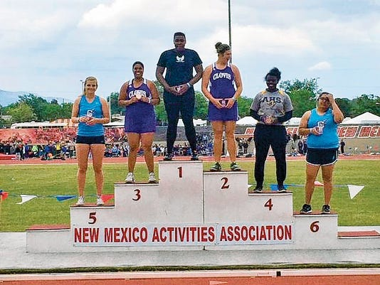 Courtesy photo   Oñate's Yemisi Oroyinyin won the Class 6A girls state discus championship with a throw of 130-feet, 6-inches during the state track and field championships at the University of New Mexico in Albuquerque.
