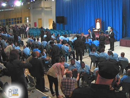 Pope Francis met with inmates at Philadelphia's largest jail Sunday.