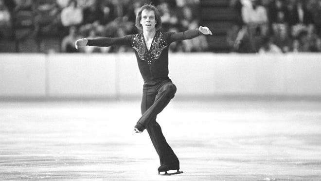 From Feb. 19, 1980, Scott Hamilton, of Haverford, Pa., performs during his short program of the Olympic figure skating event in Lake Placid, N.Y. Hamilton gets goosebumps at the mention of Lake Placid.