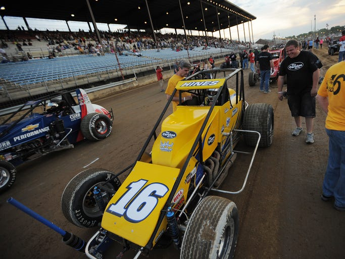 Bobby East and Tracy Hines on the front row  Thursday May 22,  2014  at The USAC Hoosier Hundred  at The Indiana State Fairgrounds.