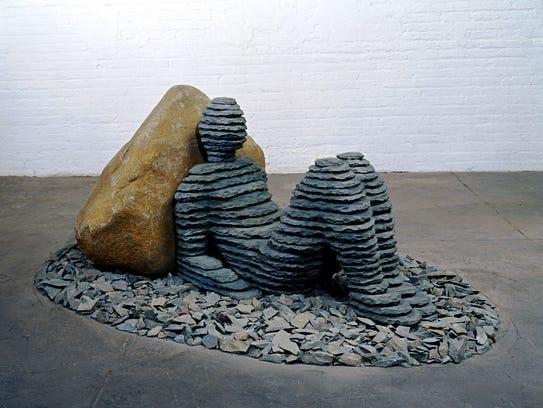 Boaz Vaadia's  'Ahiam 2nd' is a 2006 bronze, boulder