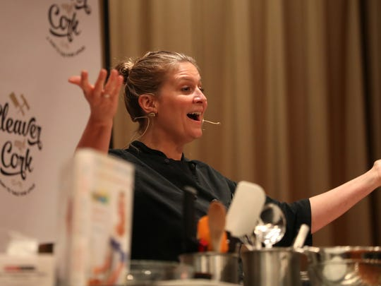 Food Network personality Amanda Freitag  gives a cooking presentation at Westminster Oaks Thursday, part of Tallahassee Community College Foundation's third annual Cleaver and Cork fundraiser.