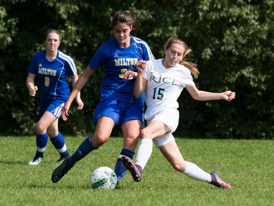 Rice's Sage Alix (15) and Milton's Brooke Caragher (23) battle for the ball during the girls soccer game between the Milton Yellow Jackets and the Rice Green Knights at Rice High School on Saturday morning September 16, 2017 in South Burlington.
