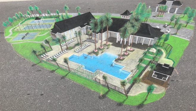 3D chalk rendering of the future residents' clubhouse at Azure at Hacienda Lakes.