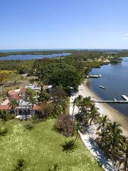 Aerial photo shows some of the buildings and docks on Little Bokeelia Island