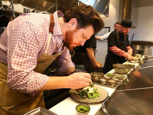 Chef Scott Conant prepares Burrata, winter peas, pomegranate,