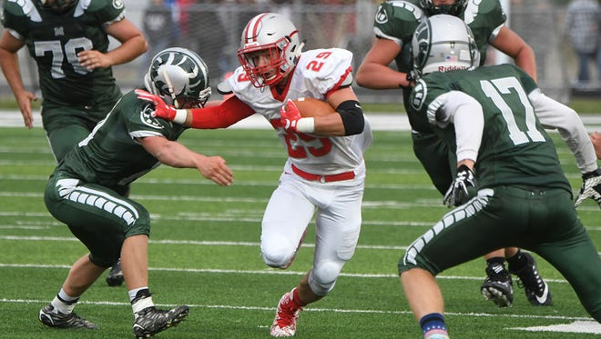 Shelby's Ty Hoffman is pursued by a gang of Ram defenders Thursday night at Madison High School.