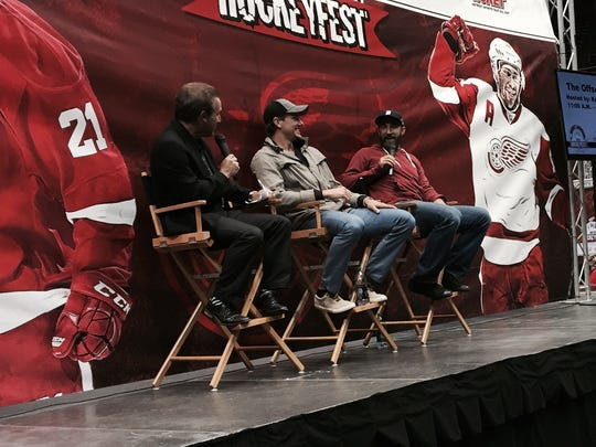 (From left) Ken Daniels, Danny DeKeyser and Kyle Quincey