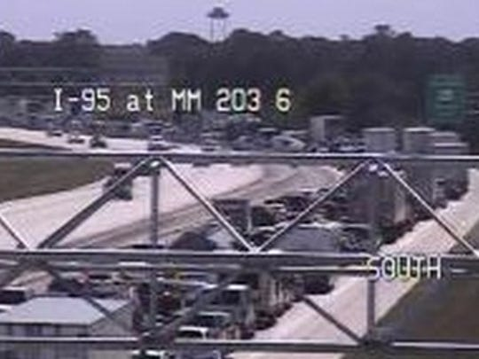 Traffic camera shows wreck on I-95 slowing traffic Sunday afternoon.