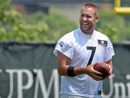 Pittsburgh Steelers quarterback Ben Roethlisberger smiles during an NFL football minicamp Tuesday, June 17, 2014 in Pittsburgh.(AP Photo/Pittsburgh Post-Gazette, Matt Freed)  MAGS OUT; NO SALES; MONESSEN OUT; KITTANNING OUT; CONNELLSVILLE OUT; GREENSBURG OUT; TARENTUM OUT; NORTH HILLS NEWS RECORD OUT; BUTLER OUT