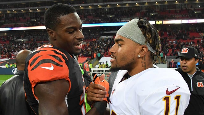 Bengals WR A.J. Green and Washington's DeSean Jackson (11) meet on the field after Sunday's tie.