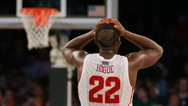 Iowa State Cyclones forward Dustin Hogue (22) reacts after the game against the Connecticut Huskies in the semifinals of the east regional of the 2014 NCAA Mens Basketball Championship tournament at Madison Square Garden.