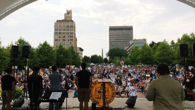 A large crowd gathers for Mountain Moral Monday in downtown Asheville (8/4/14)