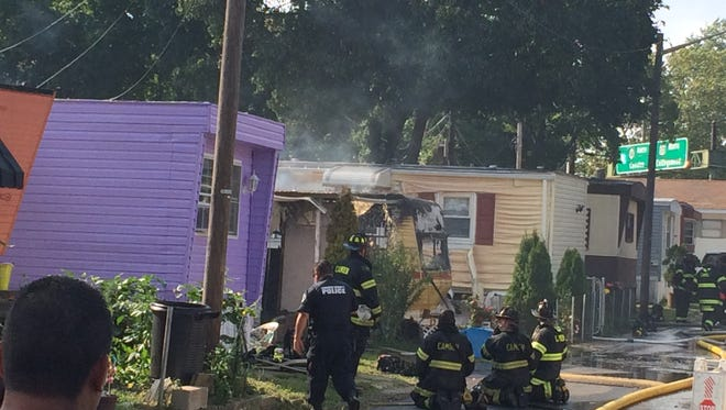 Camden firefighters battle blaze at Newton Creek Mobile Home Park.
