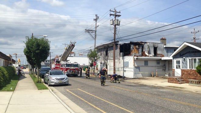 Fire crew at scene of blaze in Wildwood, NJ.
