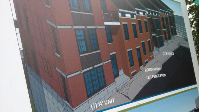 A rendering for new townhomes expected to be built on Pendleton Street in the neighborhood.