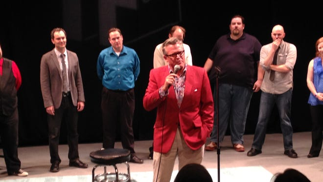 Cincinnati Pops maestro John Morris Russell set the stage for OTRimprov with some storytelling of his own the first night of IF Cincy.