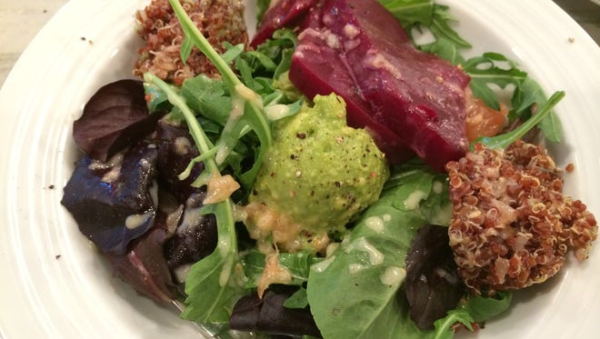 Kiki's salad with red quinoa and beets.