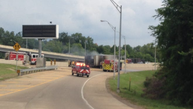 Interstate 20 exits at Market Street and Fairfield Avenue are blocked after an apparent crash involving an 18-wheeler.