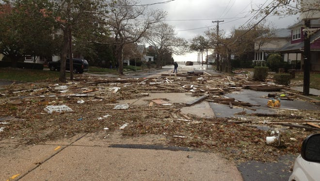 Damage from superstorm Sandy on Euclid Avenue in Loch Arbour shortly after the storm..