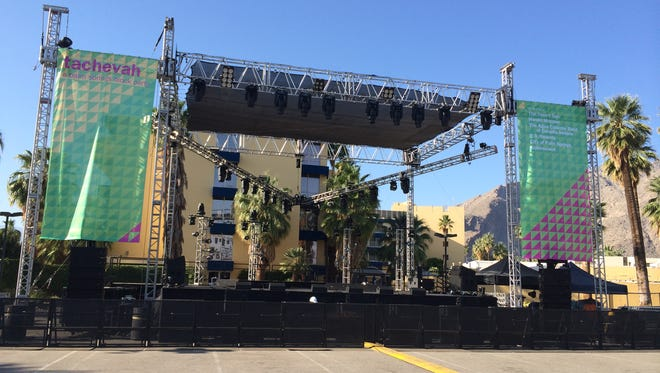 Fitz and the Tantrums, Classixx, ONE11, CIVX and The Yip Yops will perform on this stage Wednesday night at Tachevah: A Palm Springs Block Party.