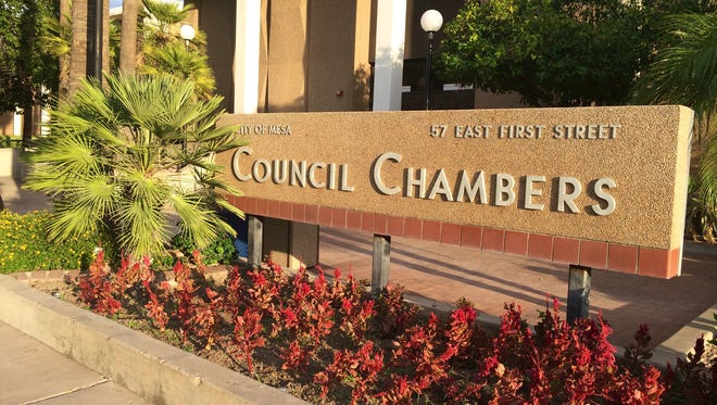 The Mesa Council Chambers building is located at 57 E. First Street.