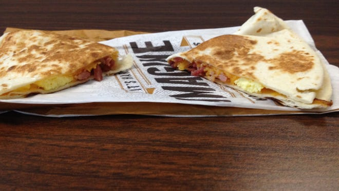 The bacon A.M. griller taco from Taco Bell.