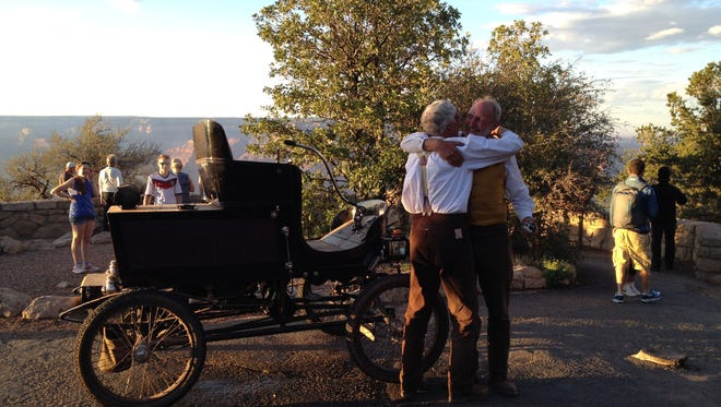 Shortly before 7 PM the brothers puttered up to Grandview Point lookout on the South Rim in their 113-year-old vehicle.