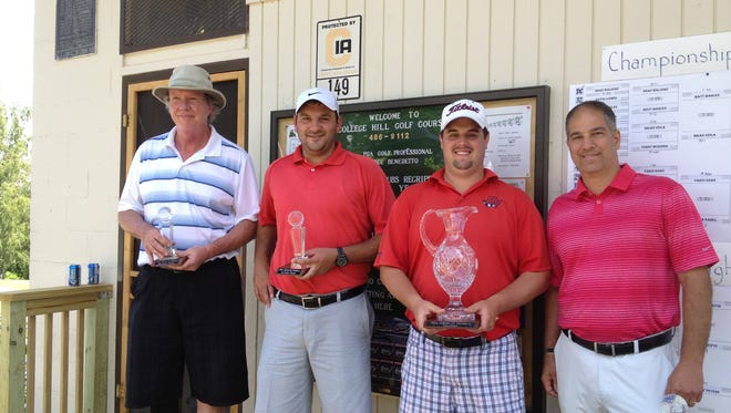 From left to right, Don Faulkner (third flight), Adam Seifts (second flight) and Brian Viola (championship flight) were the winners of Sunday's DeStefano Championship at College Hill. Standing far right is College Hill golf pro Vince Benedetto.