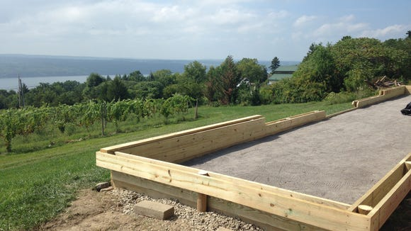 This photo, taken during construction, shows the court's view of Seneca Lake.