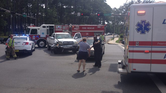 One person has been taken to the hospital following a two-vehicle crash at Park Avenue and Magnolia Drive.