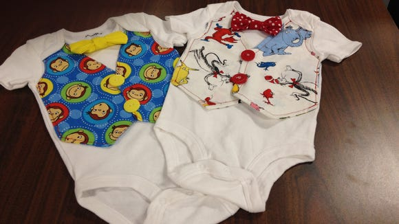 Two completed onesies