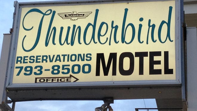 """Marquee of the Thunderbird Motel in Seaside Heights, where a two-part episode of the TV reality show """"Hotel Impossible"""" was filmed."""