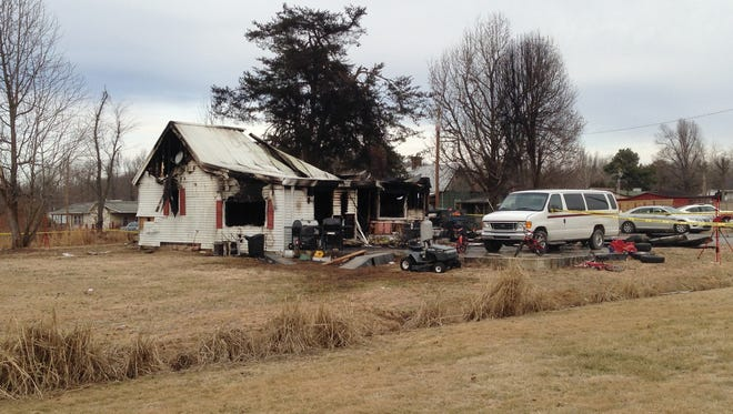 The home in Greenville, Ky., where nine people were killed and two people were seriously injured in a house fire Jan. 30, 2014.