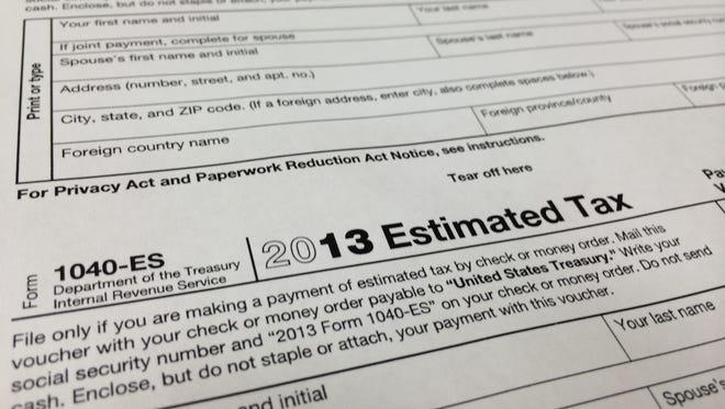 A 2013 1040-ES IRS Estimated Tax form