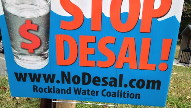 A lawn sign is seen in Ramapo that protests United Water's plan to tap, treat and desalinate Hudson River water for its Rockland customers.