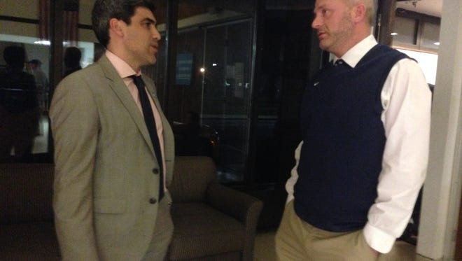 Claudio Reyna, sporting director of the New York City Football Club, stands with Keith Levinthal, athletic director at Manhattanville College, outside a planning board meeting in the town of Harrison.