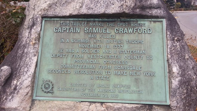 Memorial marking the spot where Capt. Samuel Crawford was killed in Tuckahoe during Revolutionary War.