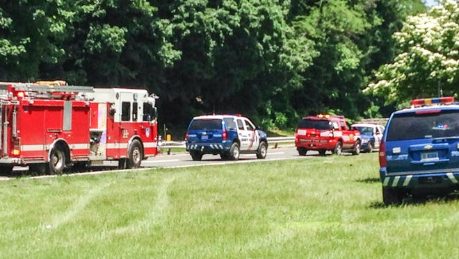 Westchester County police had the Bronx River Parkway northbound closed as they investigated a crash Saturday. Two people were hospitalized after a Honda went off the road and overturned, submerged, in the Bronx River.