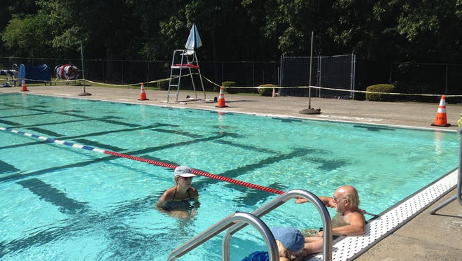 The main pool at Germonds Park is leaking. An engineering company has been hired to determine the reasons. Yellow caution tape had been place along sections to warn users of ripples in the liner.