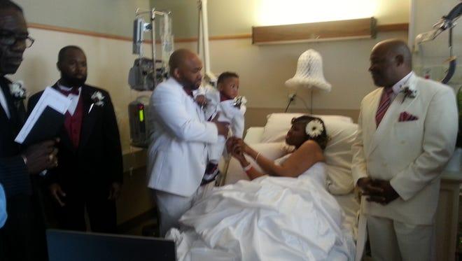 The wedding of Maurese and Tomya Miller at Christiana Hospital on Saturday.