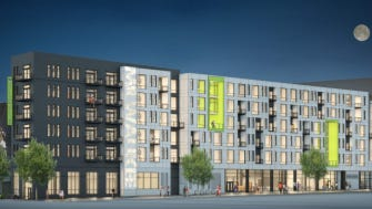 Park 7 Lofts will be built next to the new Milwaukee Bucks arena parking structure.