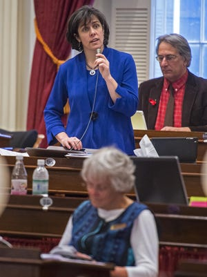Rep. Mitzi Johnson, D-Grand Isle-Chittenden, chairwoman of the House Appropriations Committee, explains part of the budget bill at the Statehouse in Montpelier on March 26, 2015.