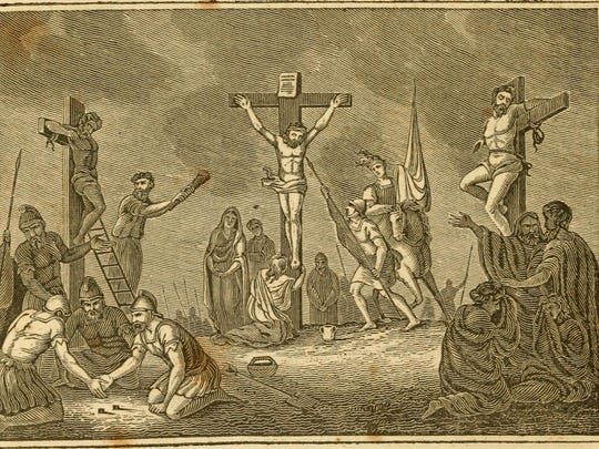 An 1830s woodblock illustration depicts Jesus on the